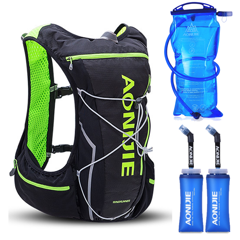 2018 AONIJIE Pro Men Women 10L Outdoor Bags Hiking Backpack Vest Marathon Running Cycling Backpack Optional Bottle Water Bag aonijie men women outdoor sports lightweight running 8l backpack marathon cycling hiking bag with 1 5l hydration water bag