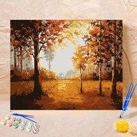 40*50 см DIY картина маслом Рисование картины по номерам лес осенний пейзаж настенные Висячие картины по номерам на холсте