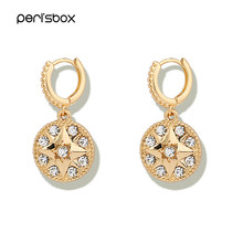 Peri'sBox Delicate Rhinestone Star Huggie Earrings for Women Round Coin Disc Charms Hoop Earrings Small Hoops Wedding Earrings(China)