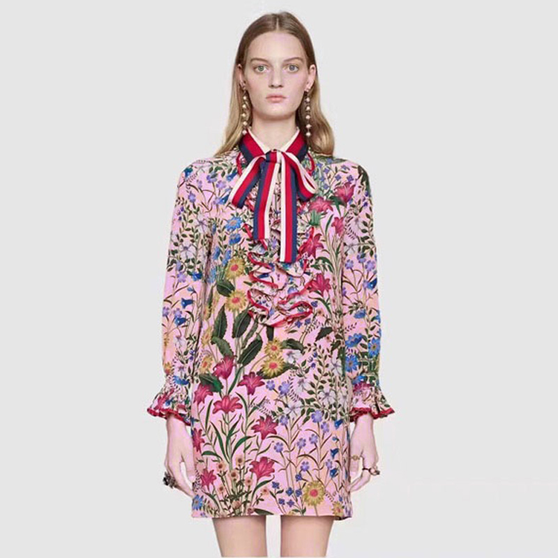 Ecombird 2018 Spring Summer Runway Dresses Women's vintage Long Sleeve Floral Print Ruffles Bow mini party Dress vestidos