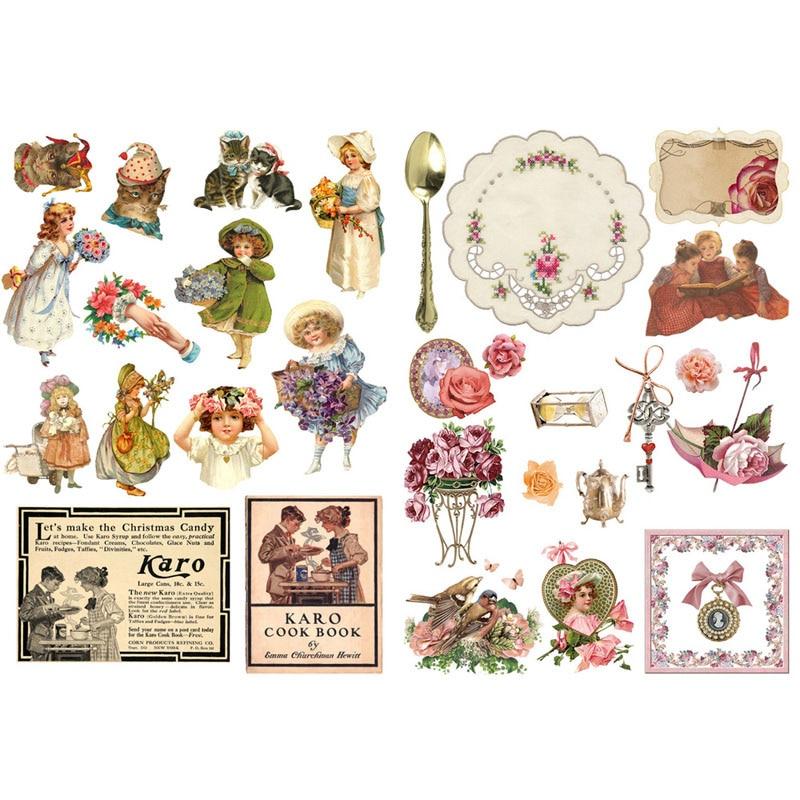 1 PCS Vintage Girl Travel Flowers Precut Bullet Journal ...