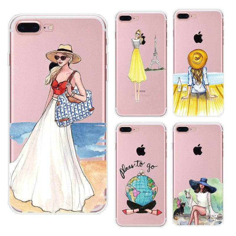 Красивая Любовь Обувь для девочек платье Шаблоны мягкая Вернуться ТПУ Чехлы чехол для <font><b>iPhone</b></font> 5S 5 6 S 7 8 Plus X ТПУ Телефонные Чехлы для 6 s 6 Plus PC-070