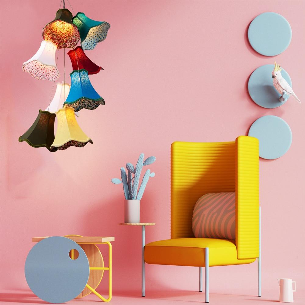 Moderní klastry barevné tkaniny odstín G4 závěs lampa svítilna vedl šňůru / 8 hlavy DIY světla ložnice Dívky děti obývací pokoj