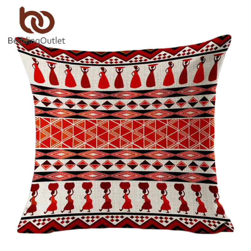SleepWish Carnival Cushion Cover African Bohemian Throw Pillow Covers Linen Blend Home Decor 45cmx45cm Fashion