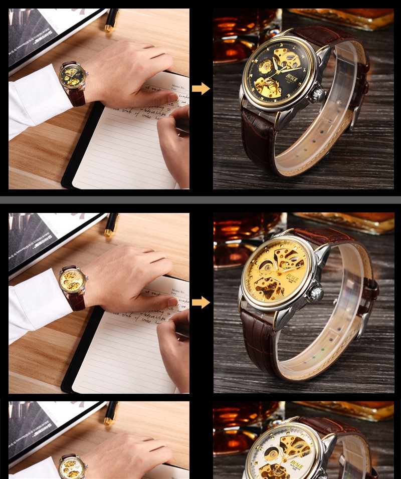 HTB1cY.Vbf1H3KVjSZFBq6zSMXXad Men's Watches Automatic Mechanical Gold Watch Male Skeleton Dial Waterproof Stainless Steel Band Bosck Sports Watches Self Wind