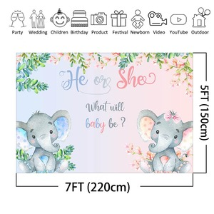Image 3 - MEHOFOTO Elephant Baby Shower Photo Background Boy or Girl Gender Reveal Party Animals Decorations Photography Backdrops