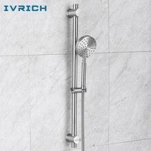 IVRICH Stainless Slide Shower Bar Set Rotatable Holder Detachable Showerhead 1.5 Meter Hose Bathroom Accessories Package D81-1