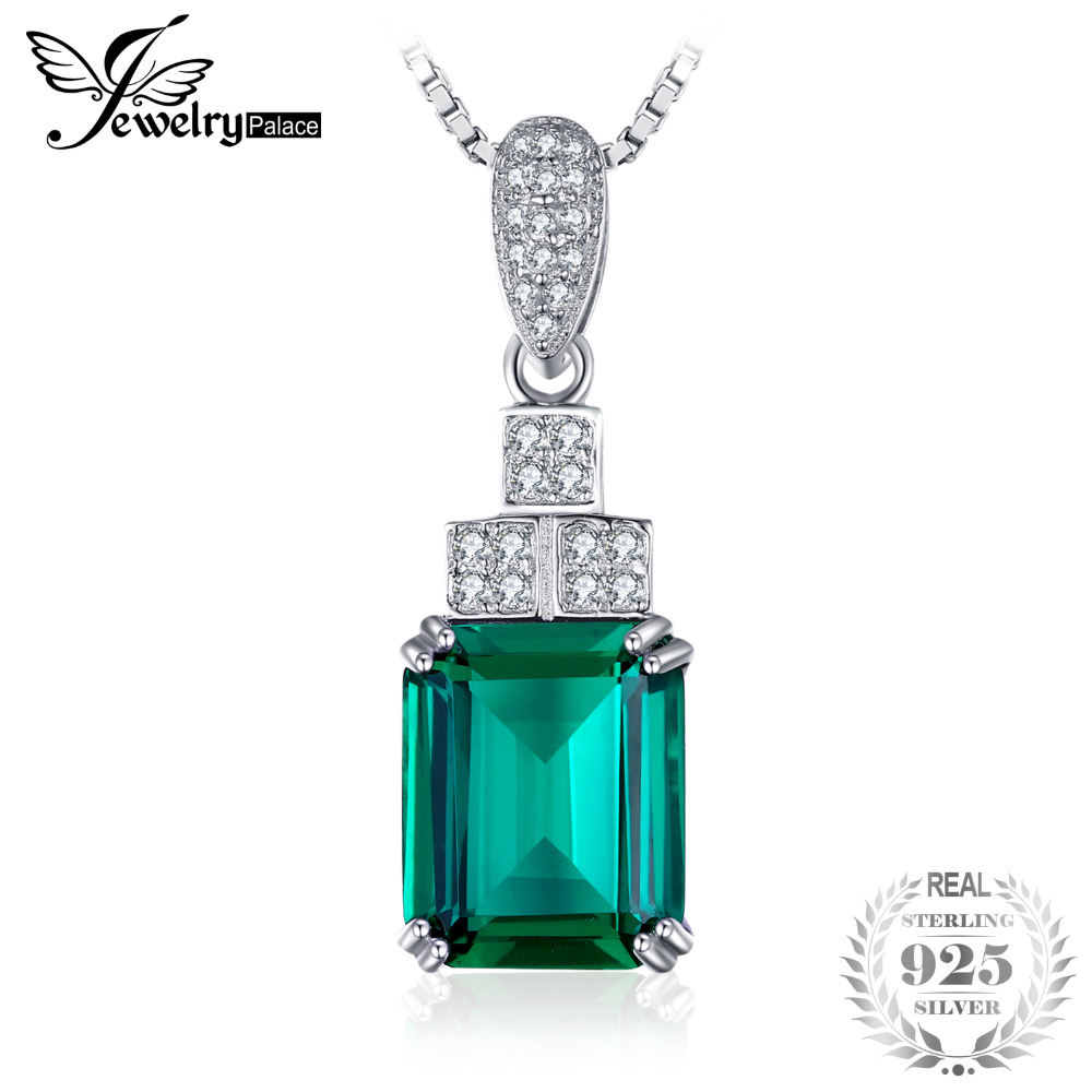 JewelryPalace 4.5ct Created Emerald Pendant 925 Sterling Silver Jewelry for Women New Fine Jewelry Gift Without the ChainJewelryPalace 4.5ct Created Emerald Pendant 925 Sterling Silver Jewelry for Women New Fine Jewelry Gift Without the Chain
