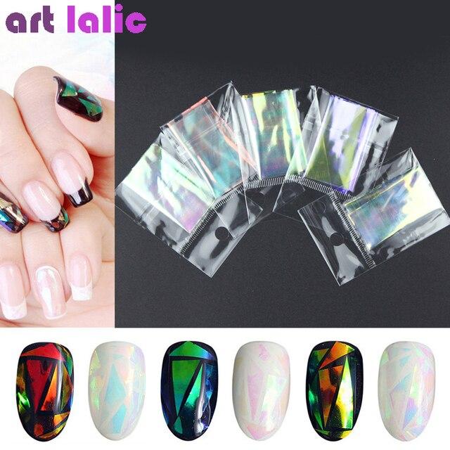 5 Vellen 3d Holografische Sterrenhemel Glitter Folie Vinger Nail Art