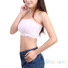 Hot Women's Sexy Lace Casual Crop Boob Top Bandeau Bra Strapless Seamless Solid Black White Pink Nude 073B 7GO9 BCXY(China)