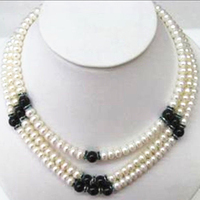 Charms 3rows 6 7mm natural white freshwater cultured pearl round beads necklace black agat spacer beads jewerly 17 19inch BV363