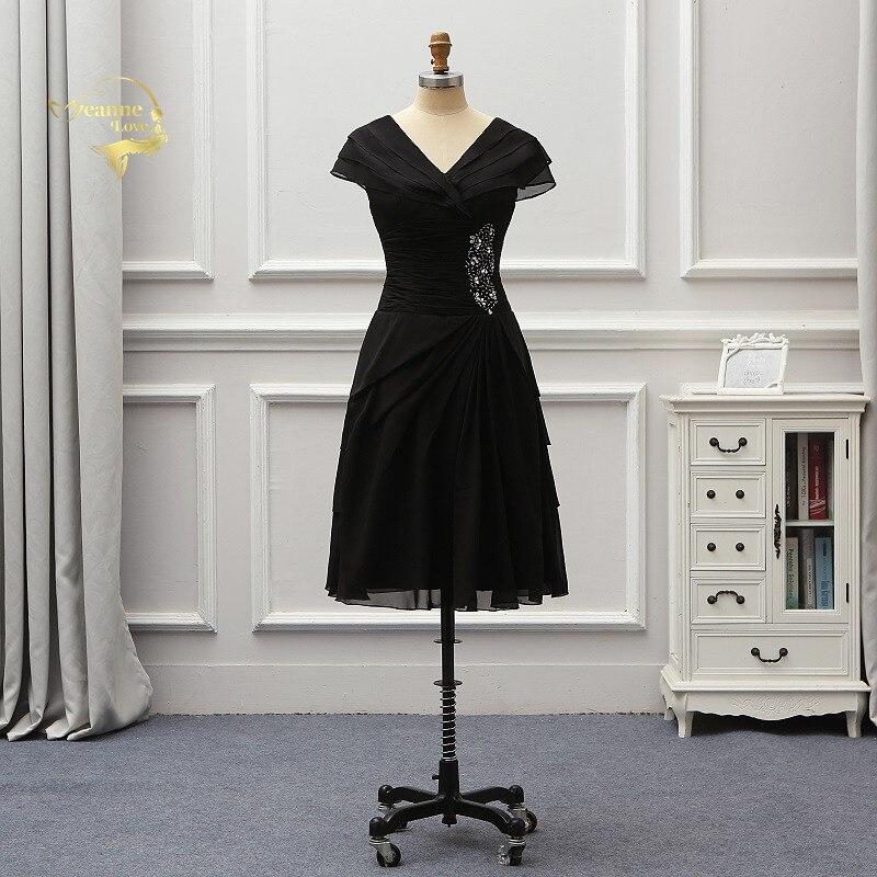 Little Black Dresses Short Cocktail Party Dresses Tea Length Cap Sleeves Plus Size Women Brides Gowns Vestidos Coctel JO0569