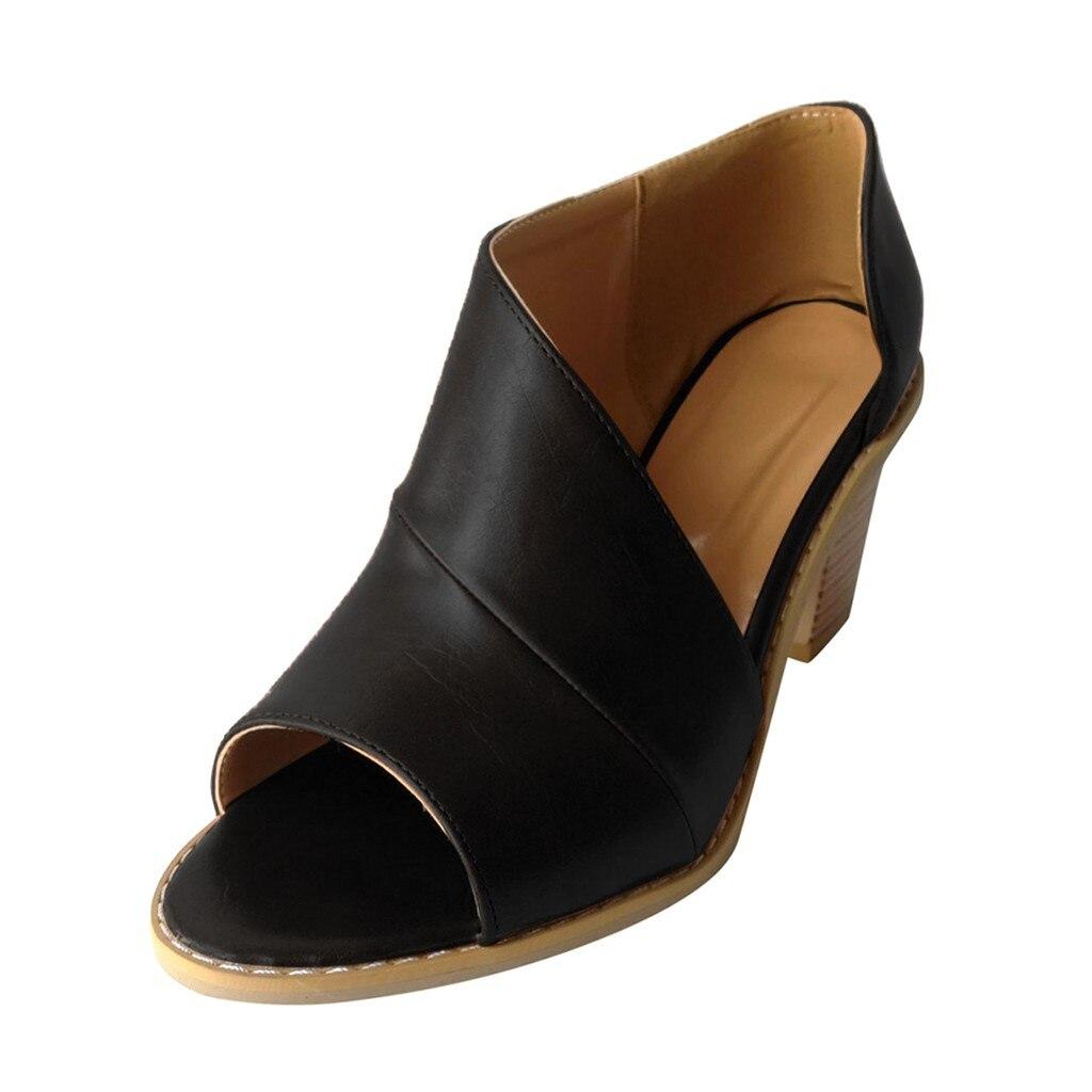 Jaycosin 2019 shoes Women Summer Sandals  Slip-On Open Toe Plain Coarse Heel Hollow Sandal Fish Mouth Casual Shoes 1