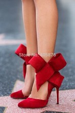 2015 Lady Evening Spring Royal Footwear Red Black Big Bow Tie Pumps Pointed Plus Size Summer High Heel Shoes