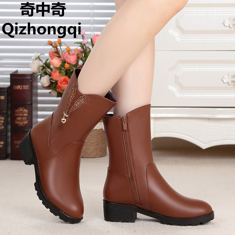 2017 winter new genuine leather women boots thick wool lined female snow boots with Plus size 35-43 # women's motorcycle boots цены онлайн