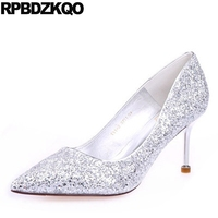 Silver Bridal Shoes Evening Sequin Bling Sparkling Sexy Size 4 34 Glitter Fashion Classic Dress Bride