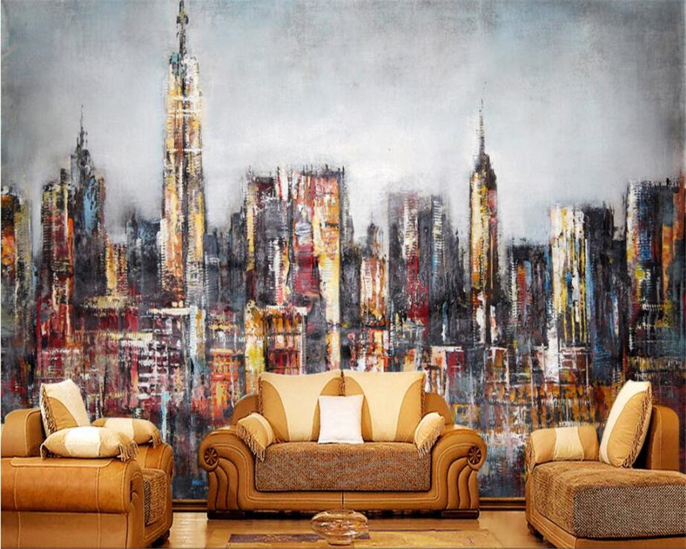 beibehang wall paper home decor Custom 3D Wallpaper European style hand-painted city oil painting wall wallpaper for walls 3 d beibehang custom 3d wallpapers hand painted retro nostalgic abstract oil painting flowers landscape european style wallpaper