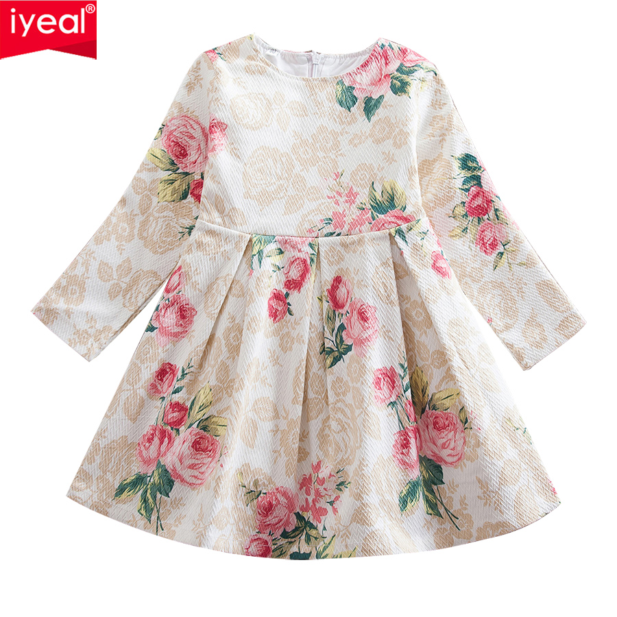 IYEAL Girl Dress Spring Rose Printing Vestidos Cotton Good Quality Autumn Kids Baby Girl Clothes Children Party Dresses for 2-8Y spring autumn girl style dress princess girls dresses high quality cotton kids party costumes solid thicker vestidos zipper bow