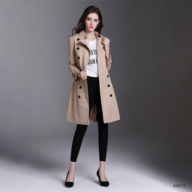 Noir Femmes 2019 Brise vent Ceinture Manteaux Vêtements Breasted Solide Slim rouge Lady Long Trench Couleur coat Automne kaki Avec Printemps Double Nouveau SUqMVGpz