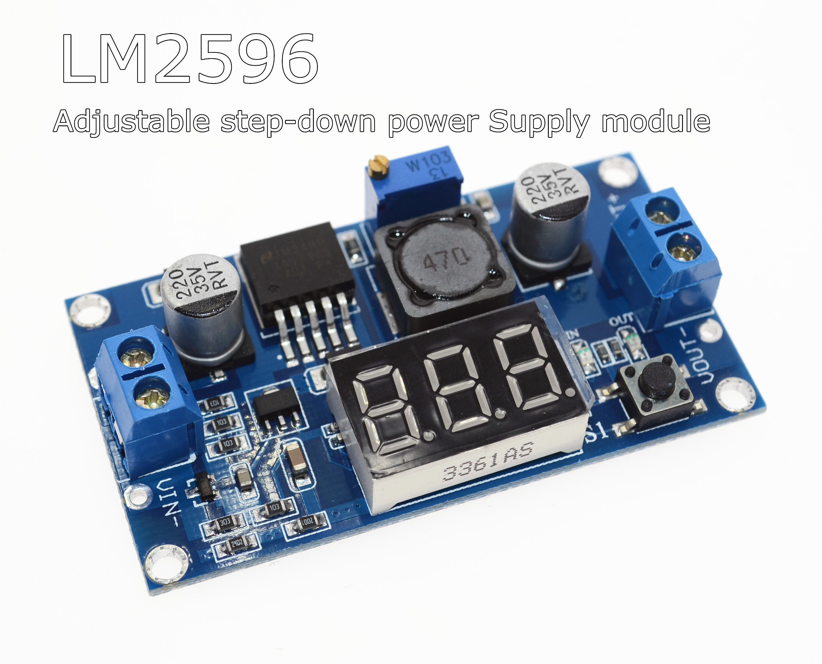Shenzhen CAIZHIXING  Electronic Co., Ltd.   LM2596 LM2596S power module + LED Voltmeter DC-DC adjustable step-down power supply module with digital display