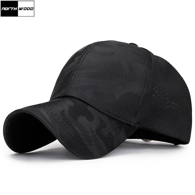 [NORTHWOOD] Summer Black White Camouflage Mesh   Baseball     Cap   Men Women Bone Gorras Para Hombre Camo Trucker   Cap   Mesh Dad Hat