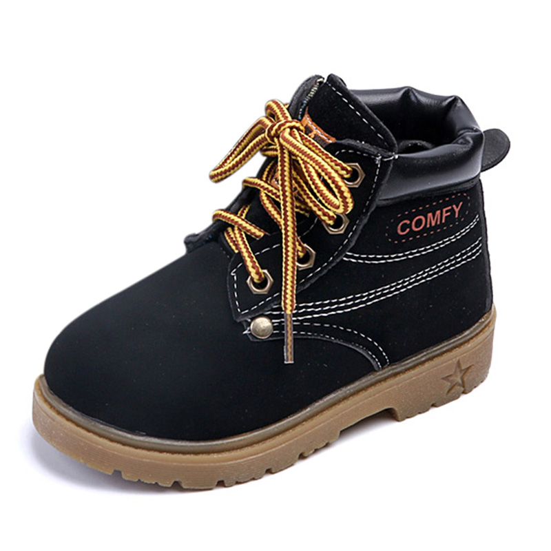Comfy Kids Autumn Winter Fashion Child Leather Snow Boots For Girls Boys Warm Martin Boots Shoes Casual Child Baby Toddler Shoes