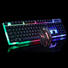 Профессиональный светодиодный игровой клавиатура с подсветкой + мышь комбо набор 1600 dpi игровой Россия набор с клавиатурой и мышью