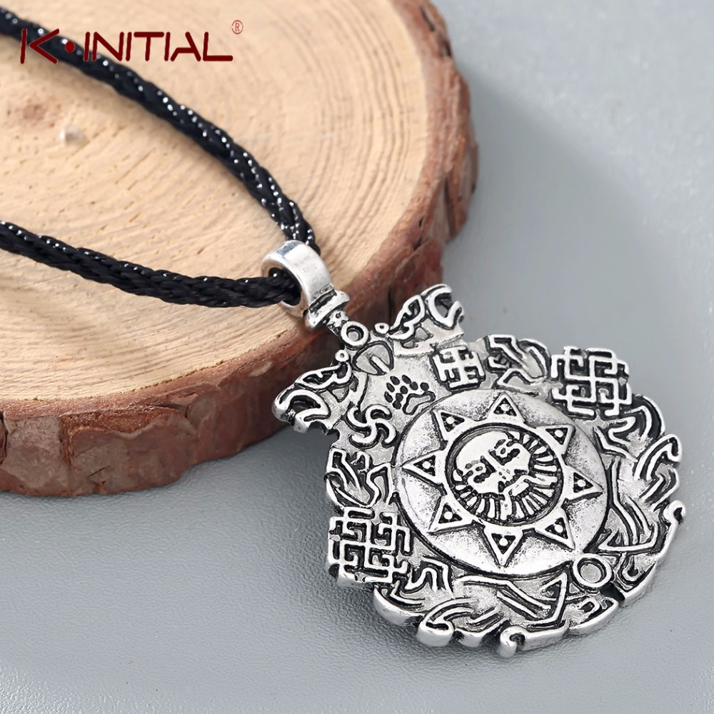 Kinitial Retro Slavic Night Knight Pendant Charming Slavic Amulet Sun Flower Pendants Rope Chain For Women Party Chic Jewelry
