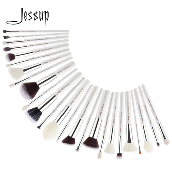 Jessup makeup brushes 25pcs White/Silver Synthetic/Natural Hair pincel maquiagem Eyeshadow Foundation Highlighter brushes T235