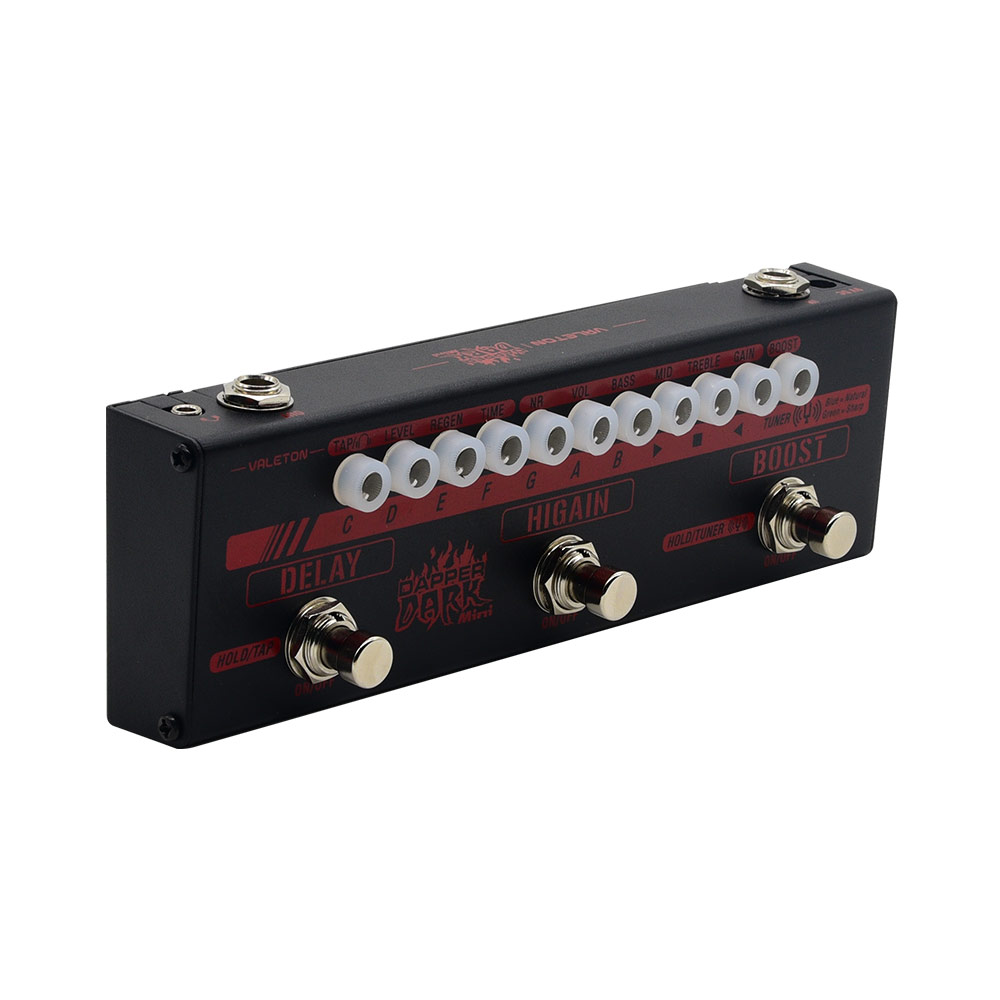 Brand New Dapper Dark Mini Effects Strip Pedal With Tuner, Boost, Hi-gain and Delay Model Plus 9V DC 1 Amp Power Supply MES-3 mxr m133 micro amp gain boost pedal with level control led indicator and footswitch