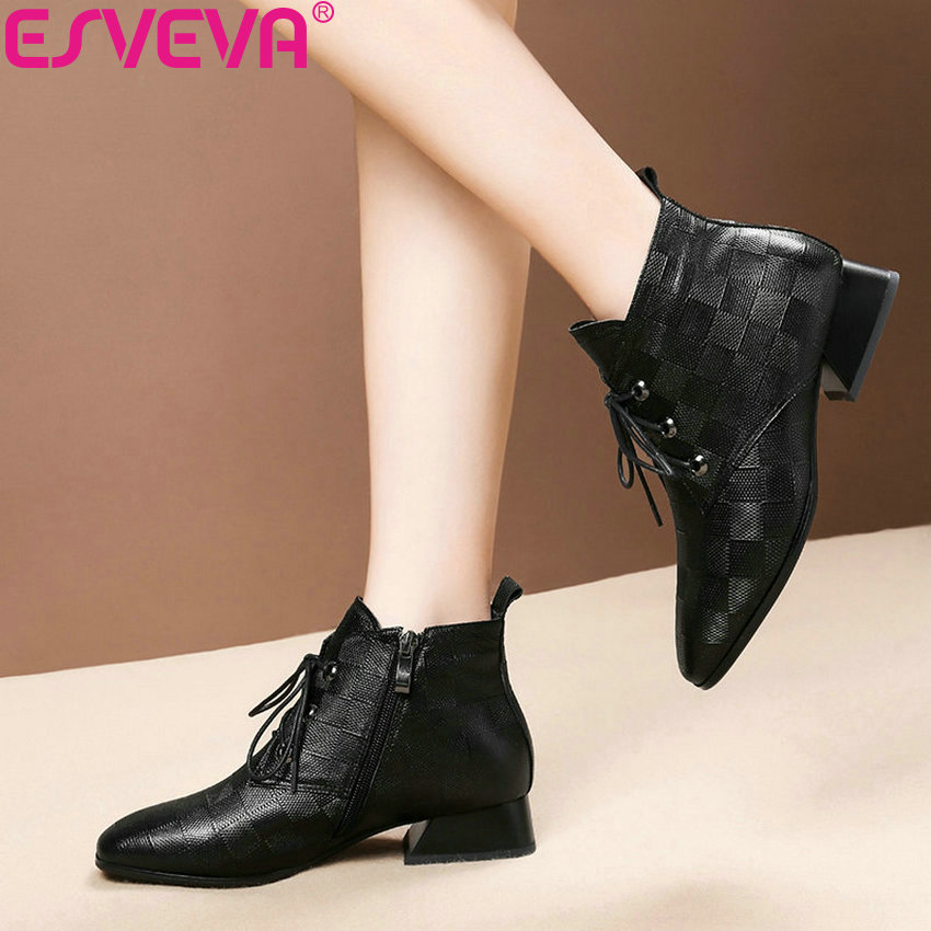 ESVEVA 2019 Woman Boots Sewing Western Style Shoes Square Toe Winter Women Ankle Boots Square Med Heels Shoes Zip Size 34-42 massage belt massage health care slimming fat burning massage fitness equipment machine body shaping shaking machine vibrati