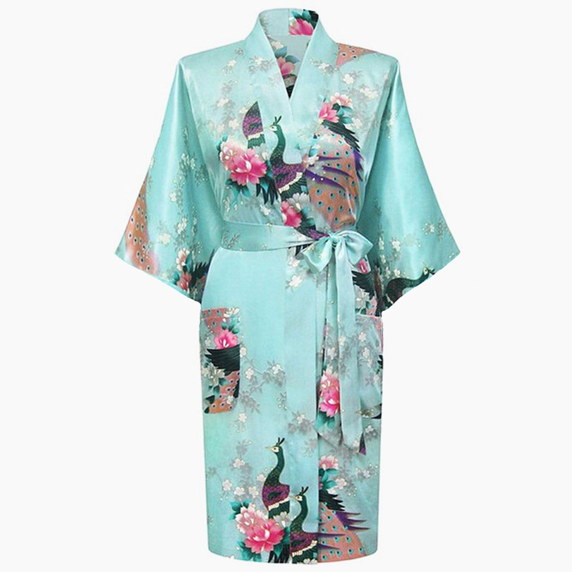 Blue Short Satin Plus Size Ladies' Nightgown Women's Sexy Kimono Bath Gown Bridesmaid Wedding Robe Dress Casual Night Dress