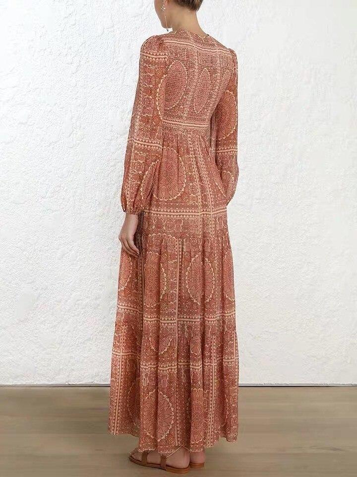 2019 femmes élégant Vintage imprimé longue robe Boho o-cou vacances robe d'été à manches longues cheville-longueur robe de plage - 5