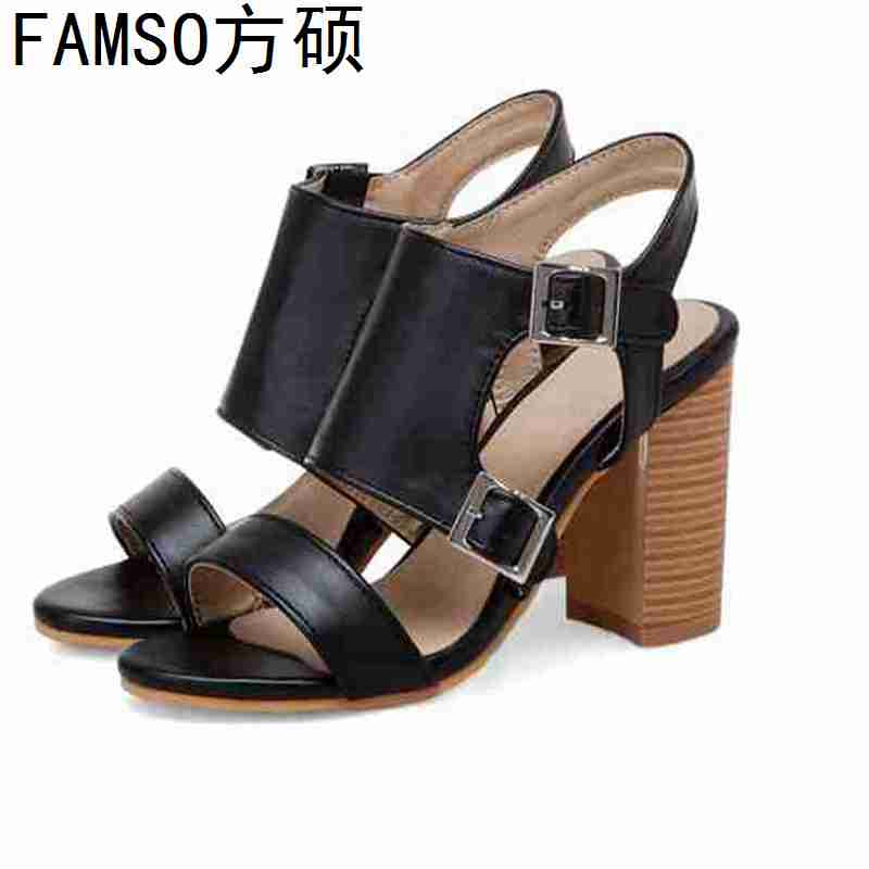 FAMSO 2019 New Women Sandals Peep toe Patchwork High Heels Office Lady Pumps Buckle Fashion Summer