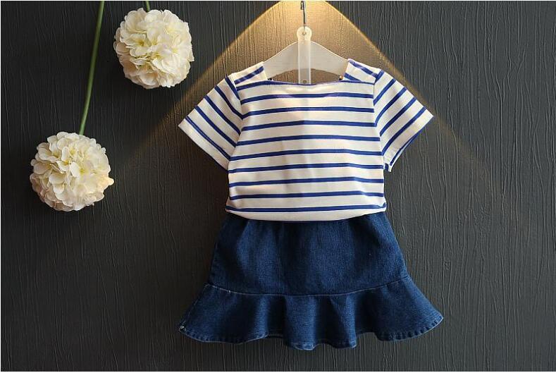 AJLONGER Moda Meninas Conjunto de Roupas de Verão Do Bebê Meninas Roupas Tarja Camisa + Saia Jeans Crianças Roupas