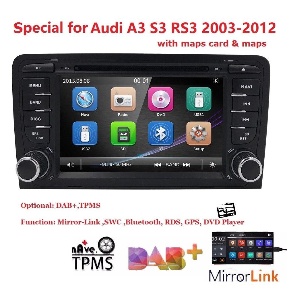 En gros! 2Din multmedia De Voiture lecteur dvd radio gps Pour Audi A3 S3 navigation gps stéréo Audio Vidéo Bluetooth CFC RDS TPMS SD DAB