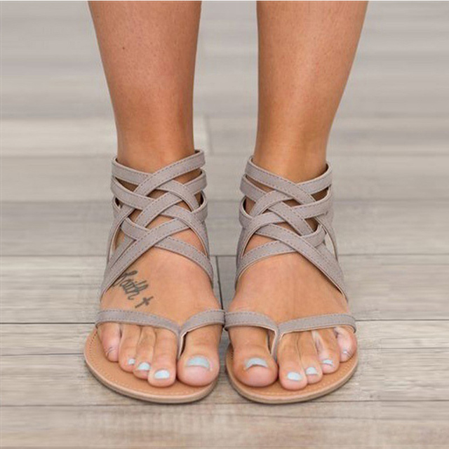 Женские босоножки Модные сандалии-гладиаторы для Для женщин Летняя обувь женские босоножки на плоской подошве в римском стиле Стиль Крест связали Босоножки Для женщин 43