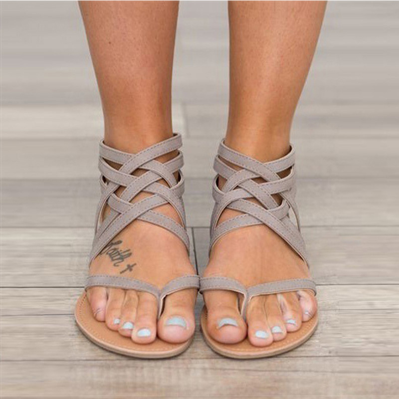 Frauen Sandalen Mode Gladiator Sandalen Für Frauen Sommer Schuhe Weiblichen Flachen Sandalen Rom Stil Kreuz Gebunden Sandalen Schuhe Frauen 43