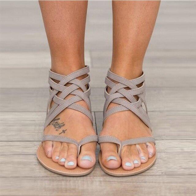 Mujer Zapatos Mujeres Estilo De Verano Planas Roma Las Moda Gladiador Sandalias Atado Para cl1TKFJ3