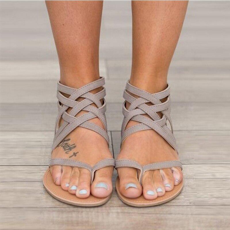 Sandalias de gladiador a la moda para mujer zapatos de verano Sandalias planas femeninas estilo Roma sandalias cruzadas zapatos de mujer 43