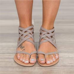 Женские сандалии, модные сандалии-гладиаторы для женщин, летняя обувь, женская обувь на плоской подошве, римские сандалии, сандалии с