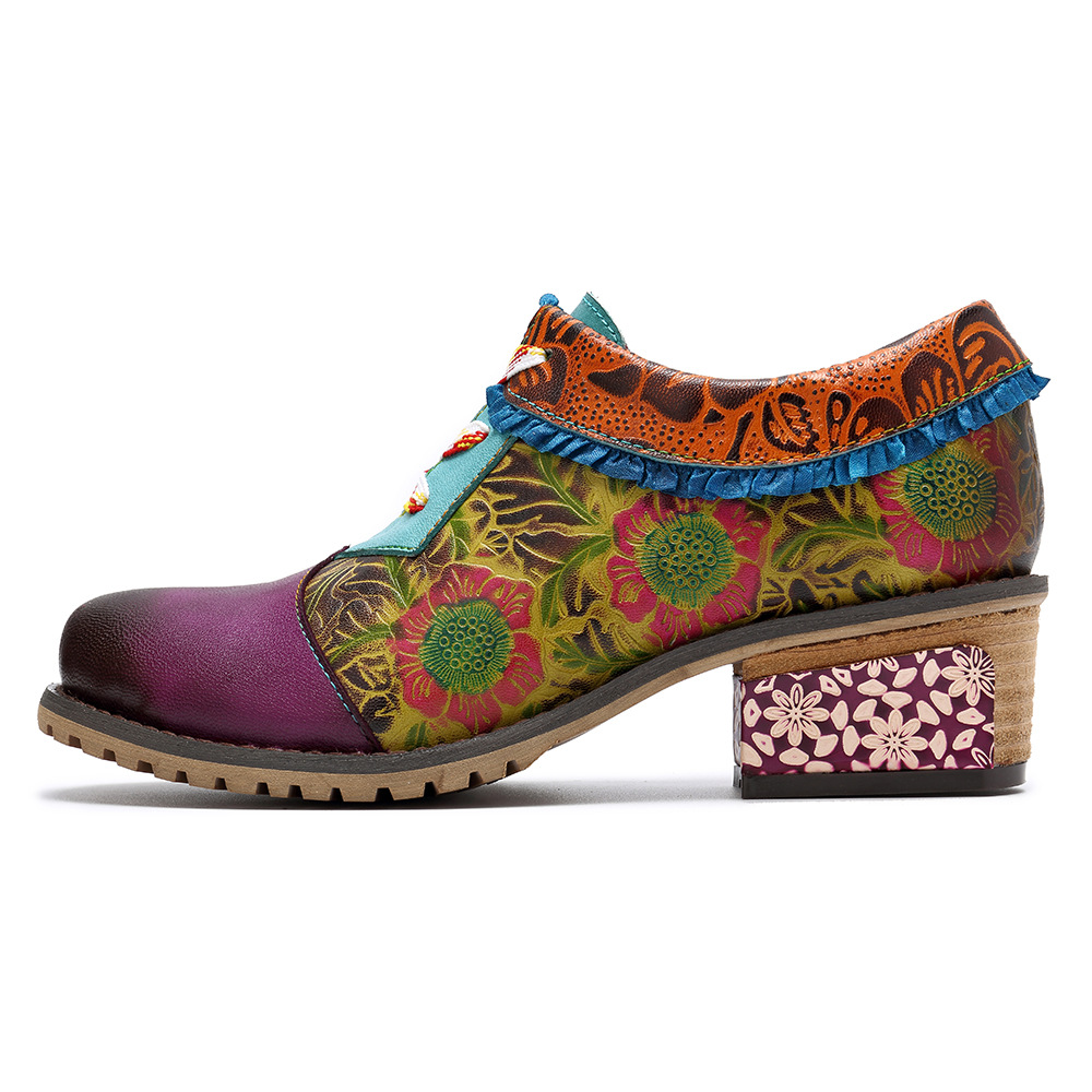 Johnature Lace up Casual Vintage 2019 New Genuine Leather for Women Ladies Shoes Woman Flower Bohemia