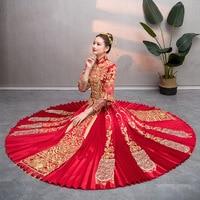 Retro Women Robe Chinois Red Traditional Gown Woman 2019 Chinese Cheongsam Wedding Dress Qipao Vestido Oriental Style Dresses