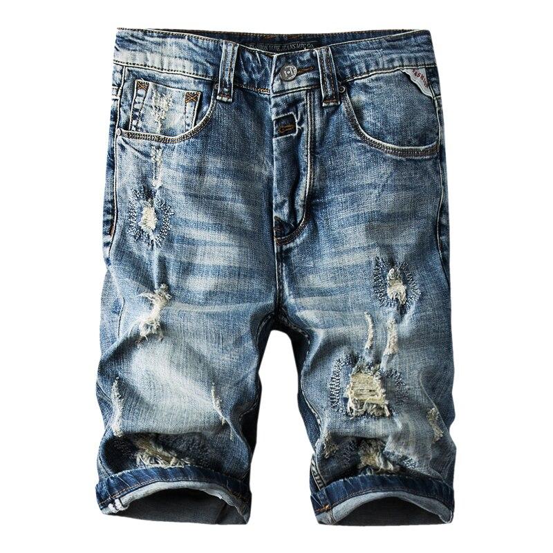 Denim Shorts Jeans Elastic New-Style Summer Fashion Brand Hole Male Retro Ripped