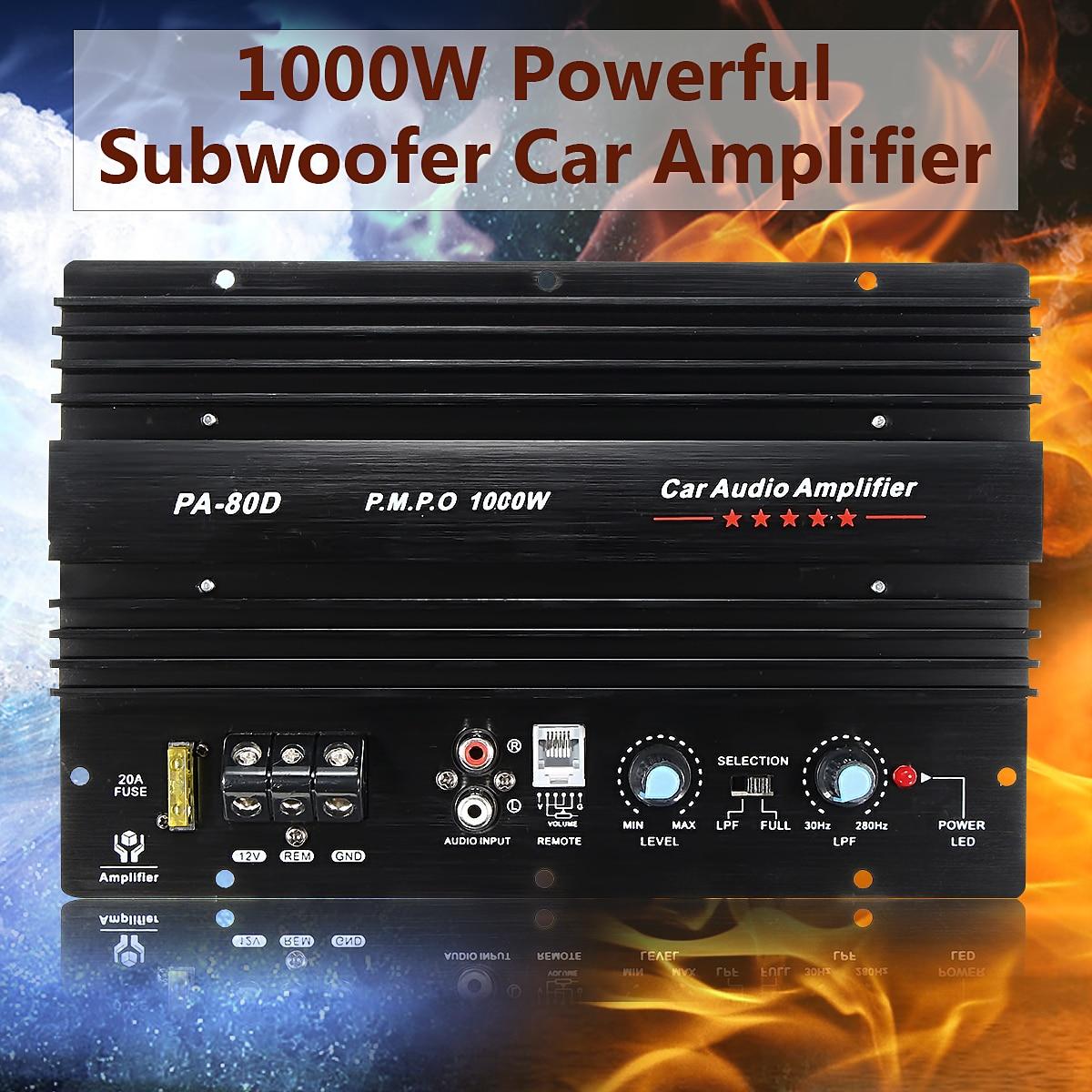 KROAK 12V 1000W 10 Inch Mono Car Audio Power Amplifier Powerful Bass Subwoofers Audio Amplifier Board DIY Amp