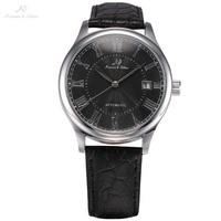 Ks自動日付表示ブラックシルバーレロジオ黒革バンドアナログメンズカジュアル時計手首男性自動機械式時計/KS244