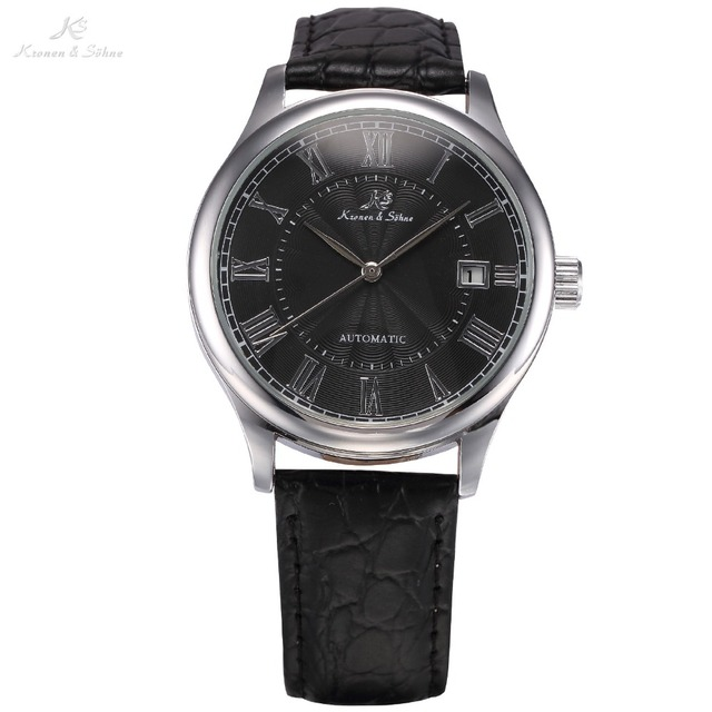 KS Auto Date Display Black Silver Relogio Black Leather Band Analog Mens Casual Clock Wrist Men Automatic Mechanical Watch/KS244