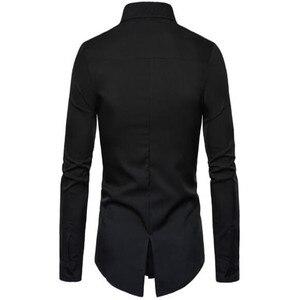 Image 5 - 2019 yaz yüksek kaliteli erkek moda kişiselleştirilmiş terzilik PU deri dikiş yaka uzun kollu gömlek