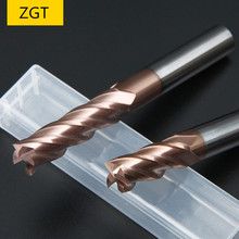 ZGT Cutting HRC60 4 Flute Endmill 4mm 5mm 6mm 8mm Metal Cutter Alloy Carbide Tungsten Steel Milling End Mill Tool
