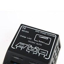 FSLH 20A 12V / 24V Solar Panel Battery Regulator Solar Charge Controller Secure Black